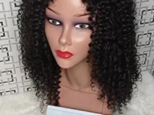 16″ Curly Human Hair Blend Wig