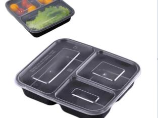 3 Partition Takeaway Plastic Plates(Cover 50Piece)
